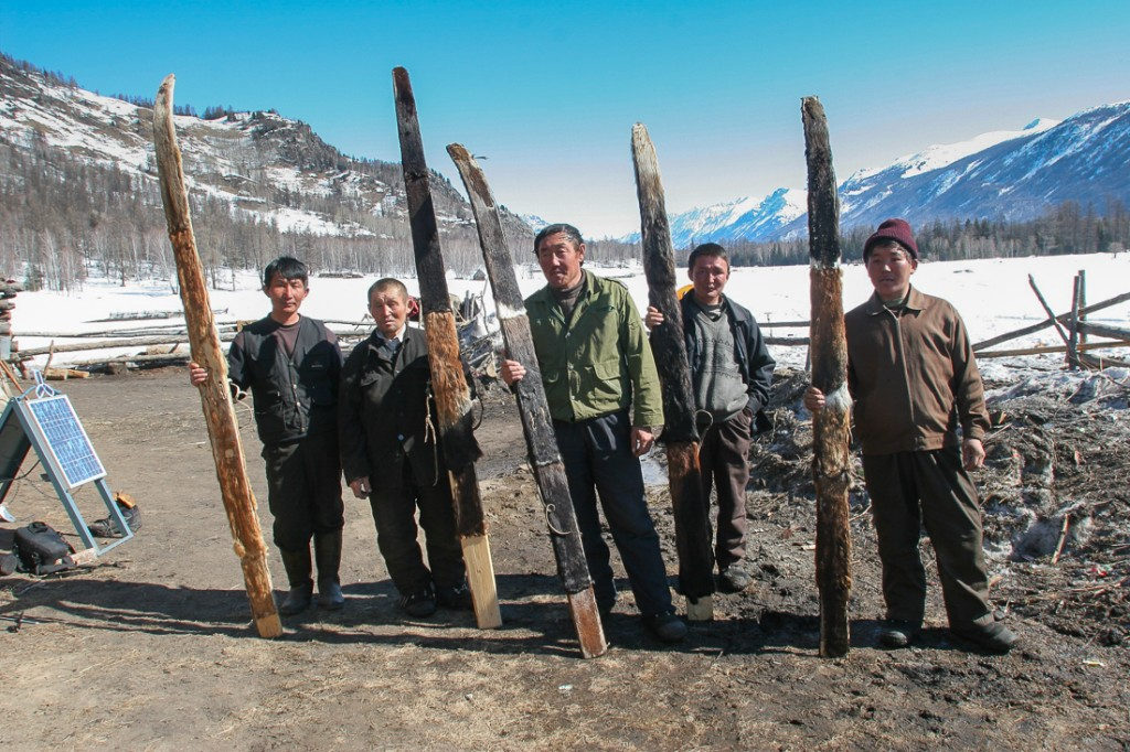 Altai Skiers with hunting skis - long, wide, and stiff. - photo Dave Waag